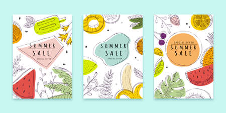 Cover template in line art, tropical fruit concept, for summer sale ad, web banner ad, poster use