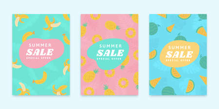 Cover template for summer sale in flat design, concept of summer or tropical fruit