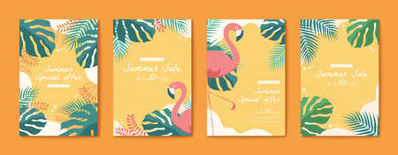 Flamingo and tropical leaves flyer set in flat style, Summer time templates