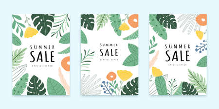 Cover template in flat style, botanical garden concept, for summer sale ad, web ad, brochure use