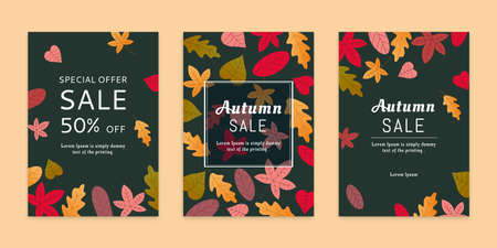 Colorful autumn leaves brochures set in flat style on dark background