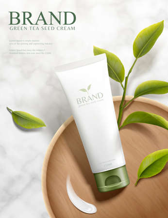 3d illustration green tea seed cream ads, plastic tube product lying on wood plate over marble stone table in top view angle