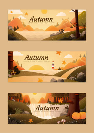 Set of attractive autumn illustration banner with waterfall, forest path and lakeside scenery
