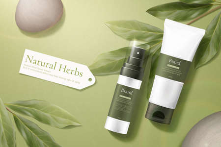 3d illustration of herbal cosmetic ad, simple and natural skincare concept, product mock-ups laid with pebbles and lemon eucalyptus