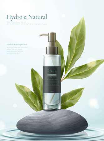 3d illustration of herbal cosmetic ad, simple and natural skincare concept, mock-ups set on grey pebbles with lemon eucalyptus leaves
