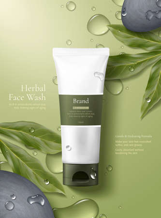 3d illustration of herbal cosmetic ad, simple and natural skincare concept, product mock-up laid on green background with dew, pebbles and leaves