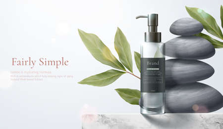 3d illustration of herbal cosmetic ad, simple and natural skincare concept, product mock-up set on marble table with leaves and zen pebbles