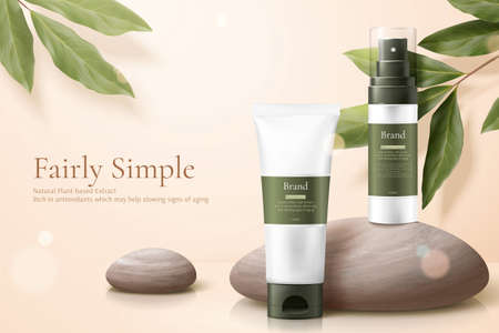 3d illustration of herbal cosmetic ad, simple and healthy skincare concept, product mock-ups set with pebbles and lemon eucalyptus 向量圖像