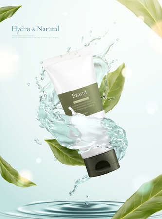 3d illustration of herbal cosmetic ad, simple and natural skincare concept, tube mock-up surrounded by water splash with flying leaves 向量圖像