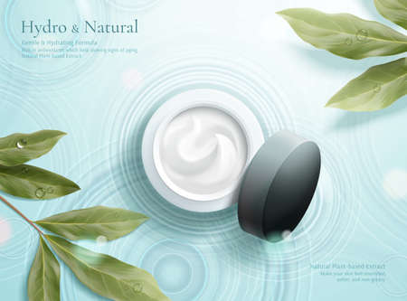 3d illustration of herbal cosmetic ad, simple and natural skincare concept, mock-up set in the middle of water ripple with lemon eucalyptus leaves aside