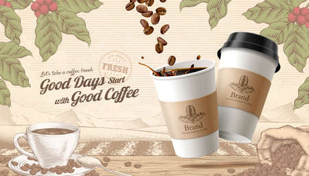 3d illustration to-go coffee ads, engraving style rustic scene background with roasted beans and cup on wooden table 向量圖像