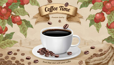 Engraving style coffee time concept design, 3d illustration coffee cup and beans