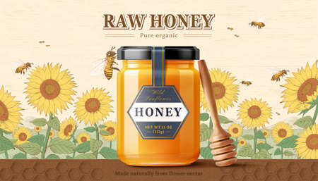 Sunflower honey product with honey dipper and honeybee on honeycomb design platform in 3d illustration with sunflowers in background