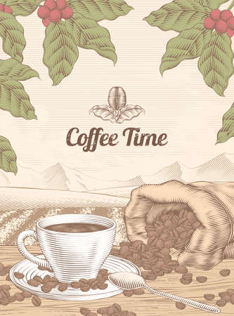 Engraving style leisure coffee time background with a cup of coffee and beans in jute bag 向量圖像