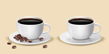 Two cups of black coffee with beans on saucer, 3d illustration