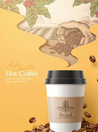 3d illustration to-go coffee ads, engraving style roasted beans and coffee fruit ingredients in the smoke shape background