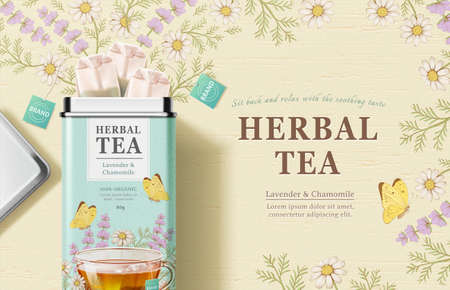 Tea bags box design in 3d illustration over chamomile and lavender engraving design background, herbal tea product ads 向量圖像