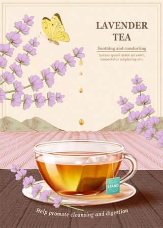 Lavender tea ad, tea cup on wooden table in 3d illustration with lavender flowers and butterfly design element over engraved plantation background 向量圖像