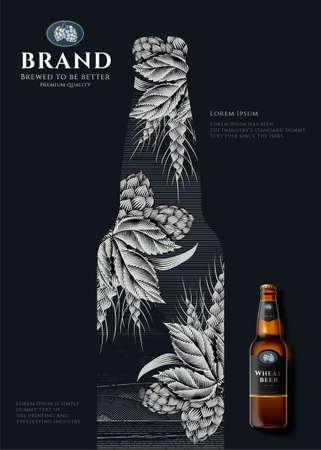 Retro style engraving bottle design on black background with beer bottle in 3d illustration