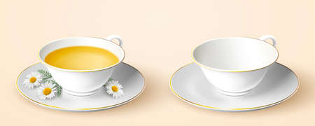 Two cups of tea, one filled with tea and Chamomile flowers in saucer and other empty in 3d illustration 向量圖像