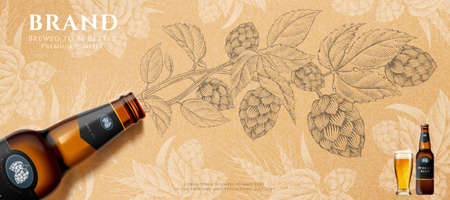 Wheat beer bottle in 3d illustration lying over retro style hops engraving design background