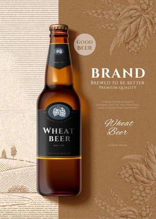 Wheat beer bottle in 3d illustration over engraved design background