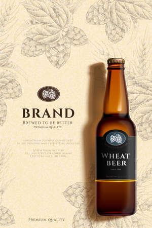 Wheat beer bottle on engraved hops design background in 3d illustration