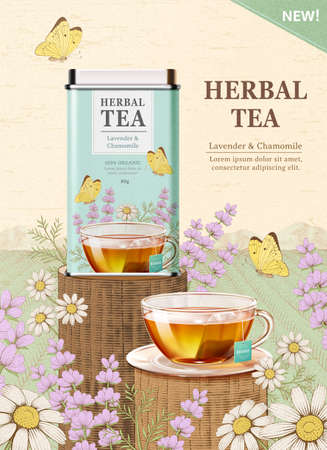 Herbal tea box design and tea cup in 3d illustration over engraved style chamomile and lavender design background