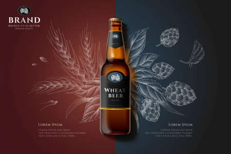 Wheat beer bottle in 3d illustration over malt and hops engraving design on brown and grey background
