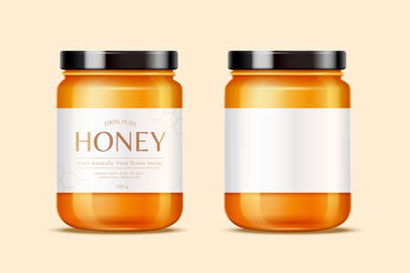 Honey jars with labels for design uses in 3d illustration