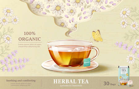 Lavender tea ad, tea cup on beige background in 3d illustration with engraved lavender flowers, chamomile flowers and butterfly design elements