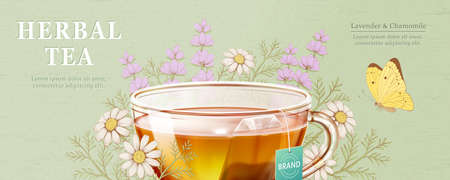 Lavender and Chamomile herbal tea ad with ingredients and butterfly on light green background 向量圖像