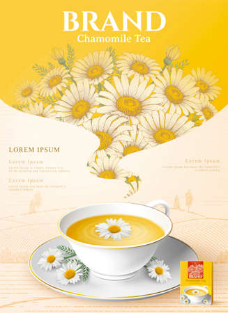 Chamomile tea ad with tea cup with flowers in 3d illustration with flowers on yellow background
