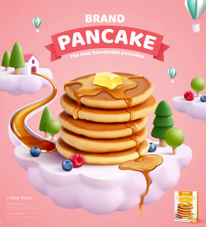 Pancake mix ads with butter and honey dripping on delicious pancakes and fruits over a cloud island in 3d illustration Vektorové ilustrace