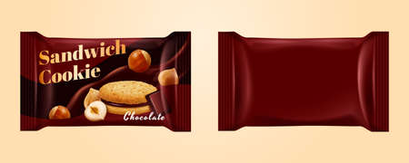 Package bags for chocolate filled sandwich cookies isolated on yellow background, 3d illustration