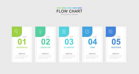 Infographic flow chart template, elements in a row with icons used for business presentation Ilustração Vetorial