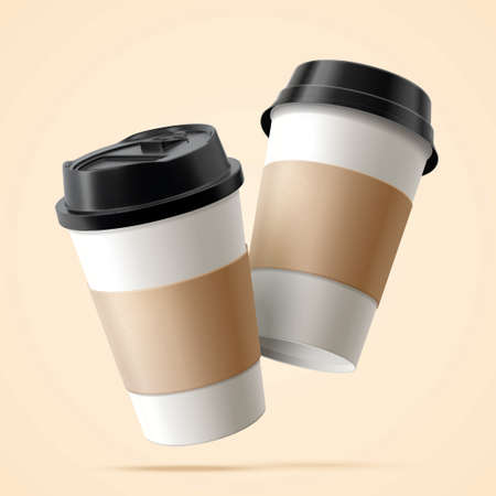 Two paper coffee cups with blank labels in 3D illustration floating over beige background