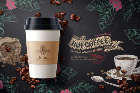 Coffee ads, takeaway cup packaging with labels in 3D illustration with coffee beans element over engraved design black background