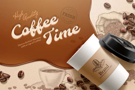 Flat lay of disposable cup with brown liquid and coffee beans element over engraved background