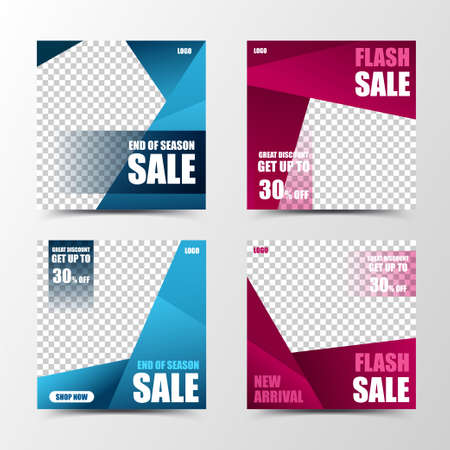 A set of gradient color social media template design in blue and fuchsia, creating modern and fashionable color blocks, suitable for seasonal sales or promotion