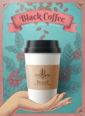 Disposable coffee cup in 3d illustration over coffee beans and leaves engraving design on blue background