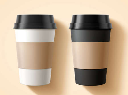 Flat lay of takeaway cup packaging set with blank labels in 3D illustration over beige background