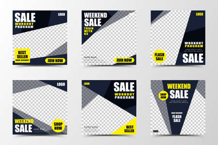 A set of social media template design with black, dark gray background color, creating sharp color blocks, suitable for seasonal sales or promotion