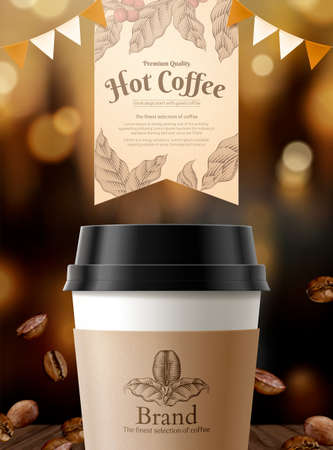 Black coffee ads with glimmering bokeh and roasted coffee beans element in 3d illustration