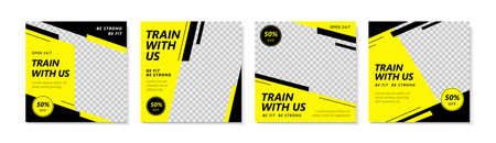A set of simple social media template design in yellow and black, using strips to create an energetic, speedy, shinning, positive image, suitable for sales, business promotion