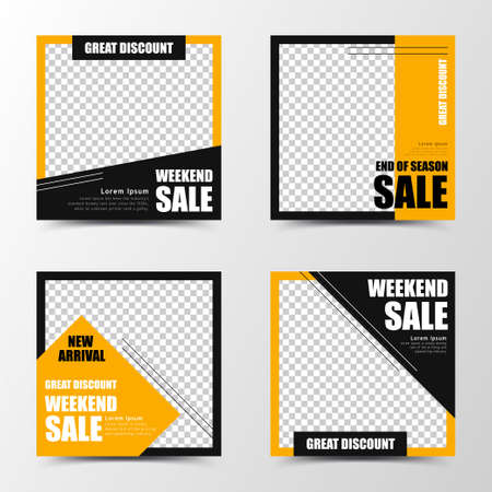 A set of social media template design in black and orange, creating energetic and tough image, suitable for sales or business promotion