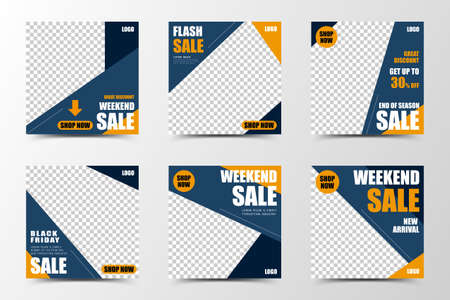 A set of social media template design in dark blue and orange, creating modern and fashionable color blocks, suitable for seasonal sales or promotion 向量圖像