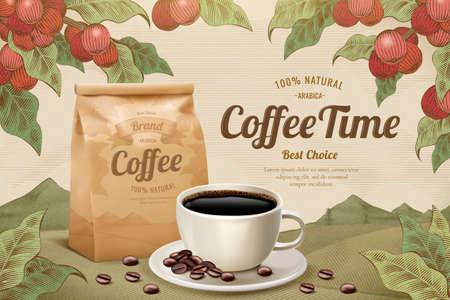 Engraving style black coffee with coffee fruit background, 3d illustration beverage ads