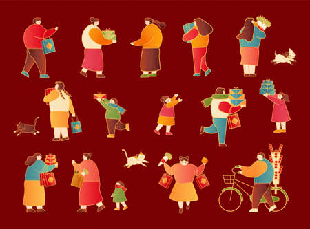 Lunar new year shopping people set isolated on scarlet red background 矢量图像