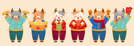 Cute cow characters with traditional costumes isolated on beige background. Animal elements suitable for 2021 Chinese new year and traditional zodiac sign ox.